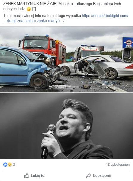 Fałszywy post na facebooku o śmierci Zenka Martyniuka
